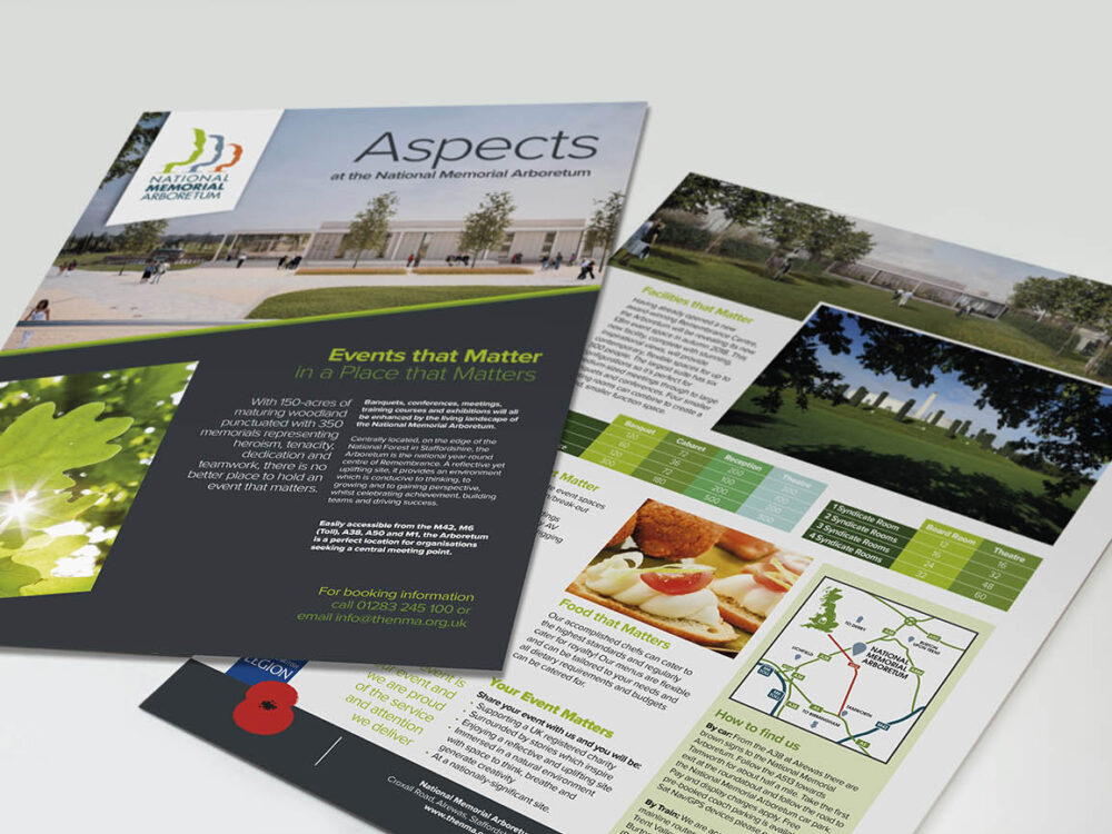 Aspects Fact Sheet designed by Brand Jam for the National Memorial Arboretum's new £8m events building.