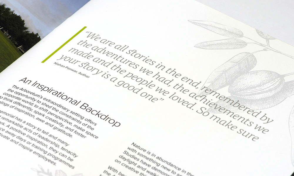 Inside page showing the typographic treatment of important content inside the Aspects brochure. Designed by Brand Jam Limited.