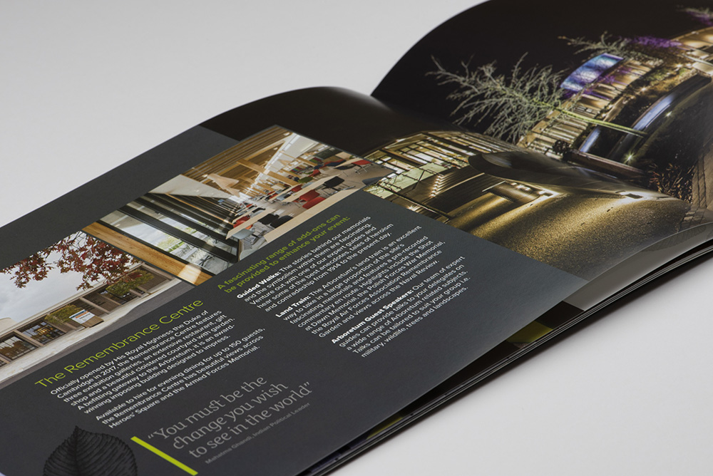 Showing the National Memorial Arboretum at night. Inside page of the Aspects Brochure.