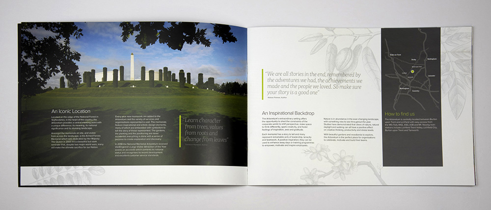 Full page spread using powerful imagery and thoughtful typographic treatment inside the Aspects Brochure