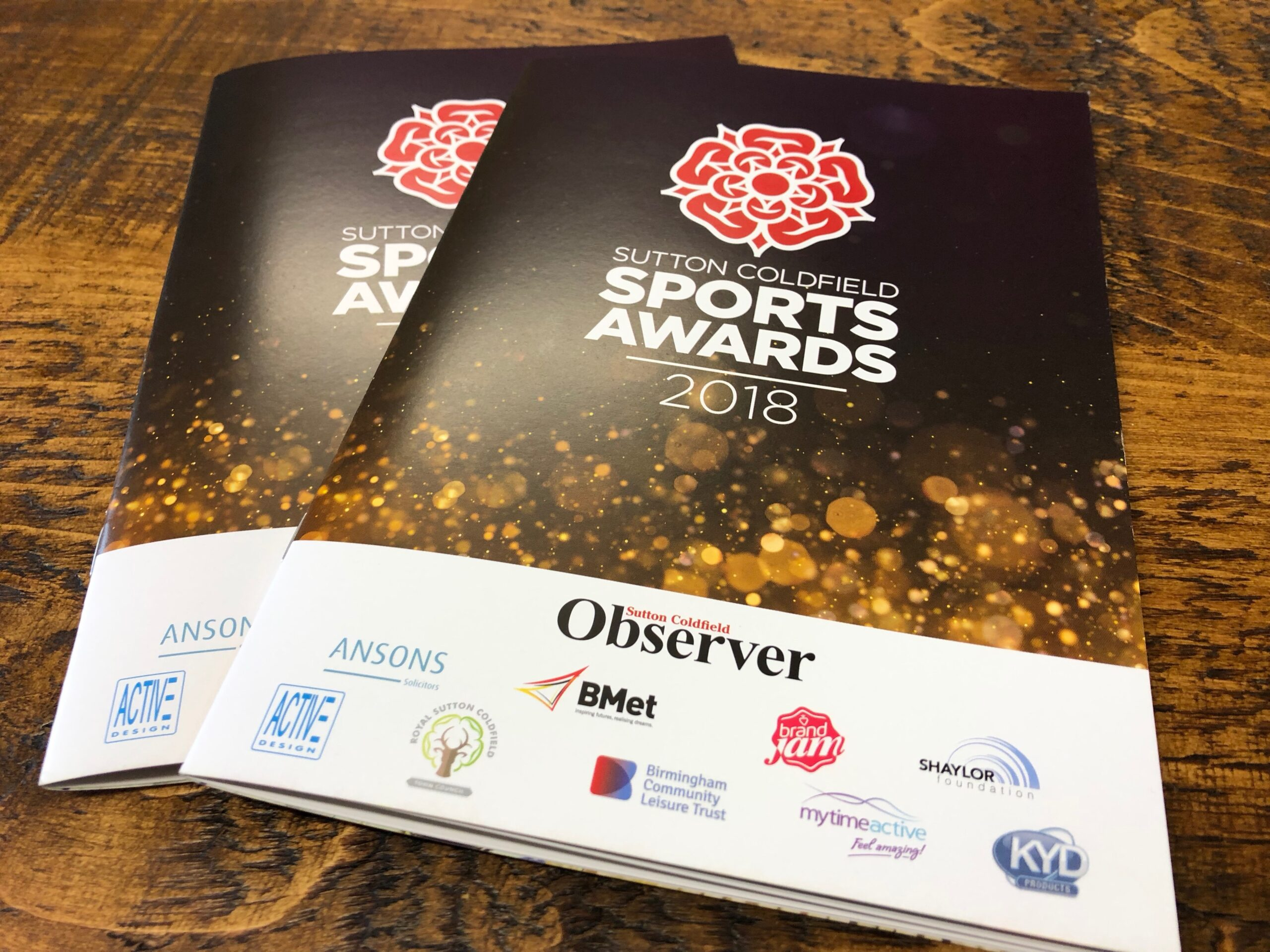 Sutton Coldfield 2018 Sports Award Programme designed by Brand Jam Limited