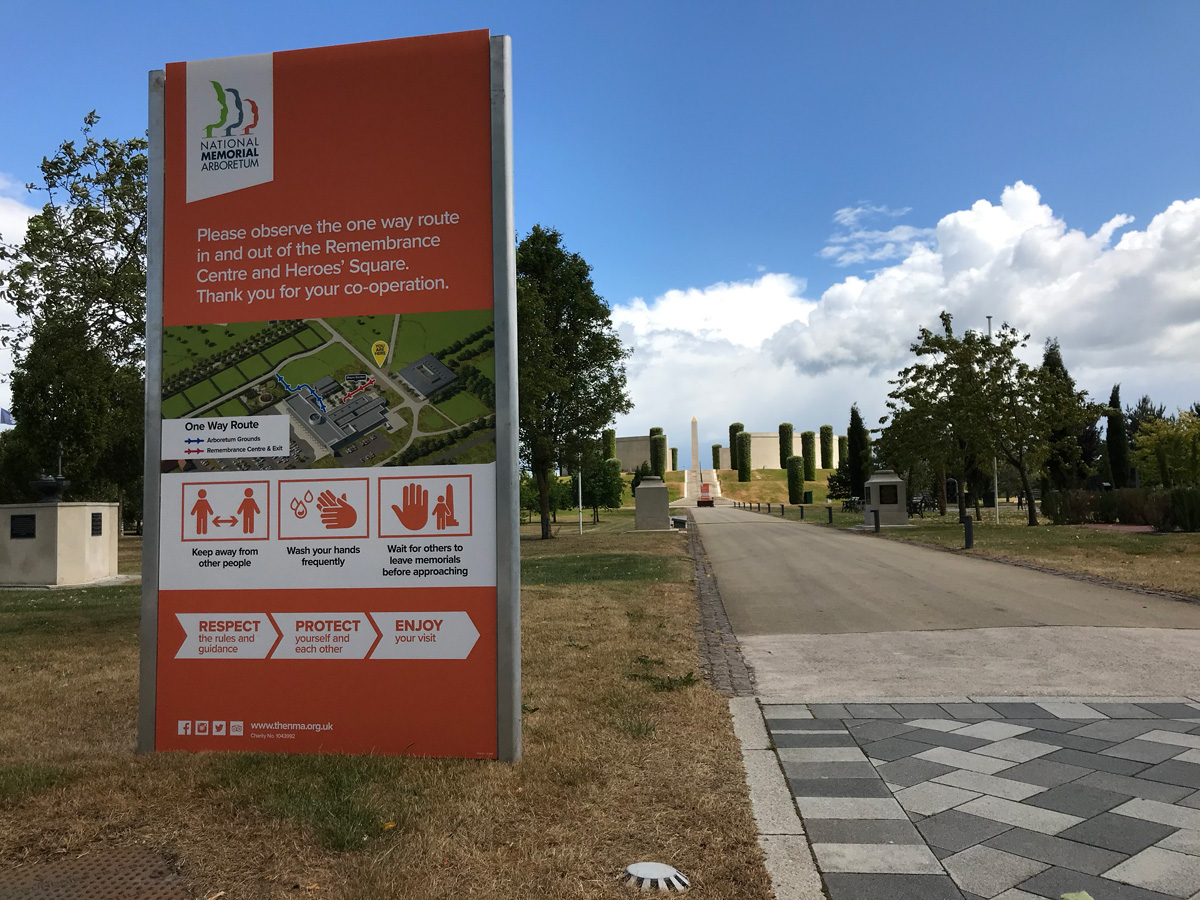 One Way Signage for the National Memorial Arboretum. Designed by Brand Jam